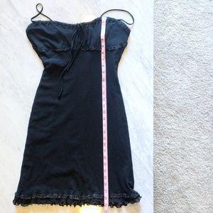Betsey Johnson Black Dress Lace Ruched Sleeveless